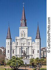 St. Louis Cathedral and Jackson Square in French Quarter, New Orleans,  Louisiana