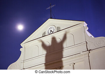 St Louis Cathedral at Dusk - A shadow of Jesus is cast upon...