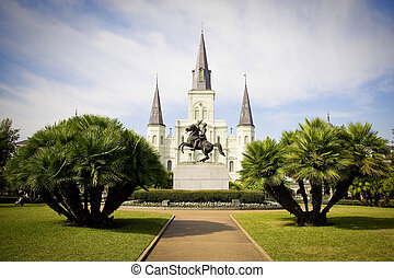 St Louis Cathedral, in Jackson Square, French Quarter, New Orleans.