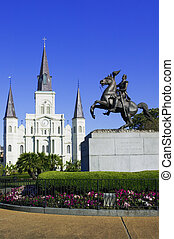 St. Louis Cathedral with the statue of General Jackson in...