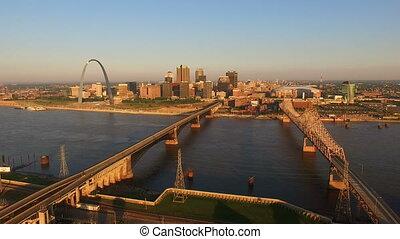 St Louis Downtown City Skyline Gateway Arch Midwest Urban...
