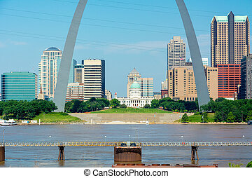St. Louis Missouri close up through Arch and Mississippi River