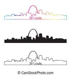 st. louis, orizzonte, lineare, stile, con, arcobaleno