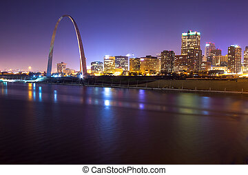 St. Louis Skyline at Twilight - St. Louis skyline in the...