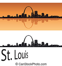 St Louis skyline in orange background in editable vector...