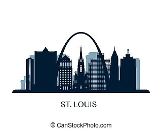 St. Louis skyline, monochrome silhouette.