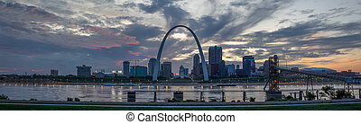 The City of St. Louis, in the state of Missouri, United States of America, as seen at Sunset across the Mississippi River