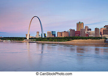 St. Louis - Image of St. Louis downtown with Gateway Arch at...