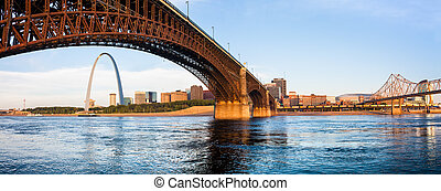 St Louis The Arch and Eads Bridge - A view of St Louis and...