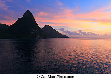 st lucia pitons at sunset - st lucia at with dramatic clouds