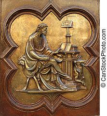 St Luke the Evangelist by Lorenzo Ghiberti , one of the...