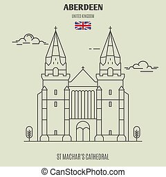 St Machar's Cathedral in Aberdeen, UK. Landmark icon in linear style