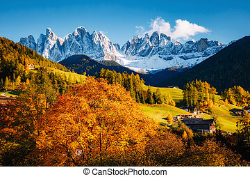 St. Magdalena village. Location Funes valley, Odle mountains, Dolomites. Province of Bolzano - South Tyrol, Italy. Europe.