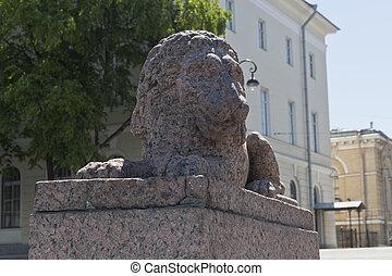 st. 。, makarova, ライオン, petersburg, 堤防, 彫刻