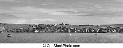 St Margaret Hope harbor panoramic view in Orkney. Scotland....