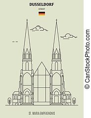St. Maria Empfaengnis in Dusseldorf, Germany. Landmark icon in linear style