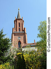 St. Marien Andreas Church of Rathenow in springtime...