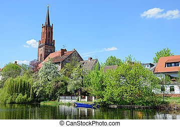 St. Marien Andreas Church of Ratheow in springtime...