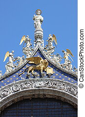 St. Mark statue with winged lion in Venice