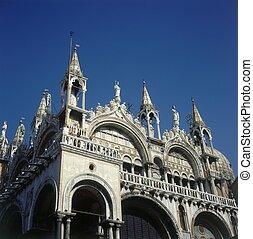 St Mark`s Basilica in St. Mark`s Square in Venice, Italy -...