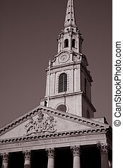 St Martins in the Field Church in Black and White Sepia Tone, London, England, UK