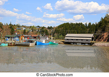 St. Martins New Brunswick in Canada - Boat and covered...