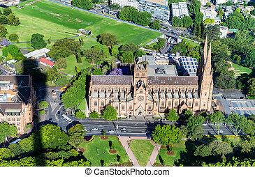 St Mary Cathedral - Aerial view of Sydney - Australia