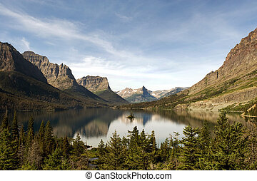 St Mary Lake with Wild Goose Island - Second largest lake in...