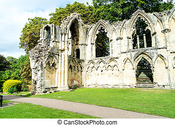 St. Mary's Abbey, museum garden in York city, England