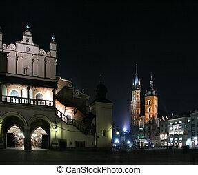 St. Mary\\\'s basilica - Krakow at night. Beautiful Polish...
