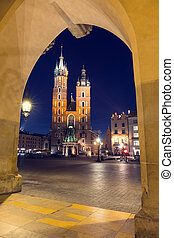 St. Mary's Church at night in Krakow, Poland.