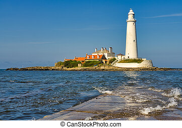 St Mary's Lighthouse, island, and causeway in Whitley bay.