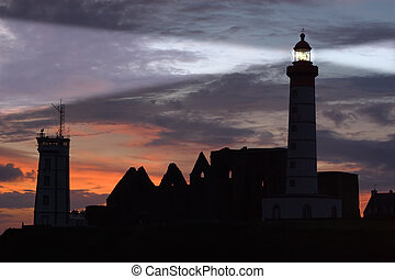 st Mathieu lighthouse at dusk - St Mathieu lighthouse and...