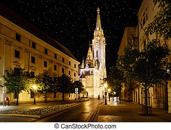 St. Matthias Church in Budapest at night - Nighttime view of...