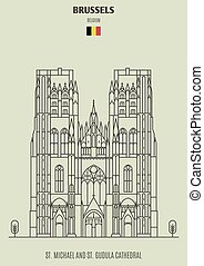 St. Michael and St. Gudula Cathedral in Brussels, Belgium. Landmark icon