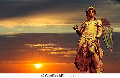 St. Michael - Statue By Raffaello da Montelupo - Sunset...