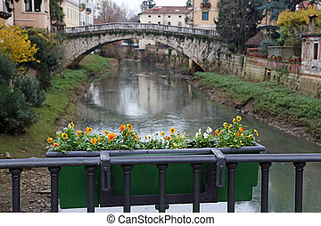 St. Michael's bridge with the RETRONE River in the city of Vicen