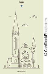 St Michael's Church in Turku, Finland. Landmark icon
