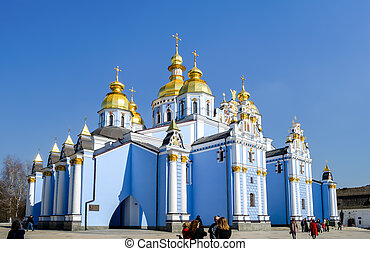 St. Michaels Golden-Domed Monastery with cathedral and bell tower seen in Kiev, the Ukrainian Orthodox Church