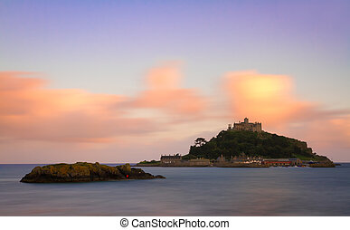 St. Michaels Mount at dusk, Cornwall, England