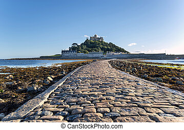 The causeway at low tide leading to St Michaels Mount at Marazion near Penzance in Cornwall