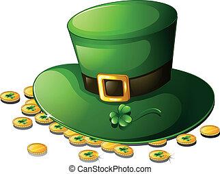 st., moedas, patrick's, chapéu verde, dia