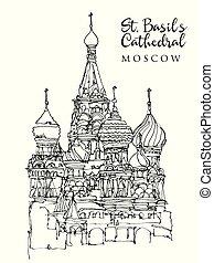 st., moskwa, rys, rysunek, ilustracja, bazylia, katedra