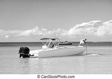 st., motorboat, john, água, antigua, homem, yachtsman