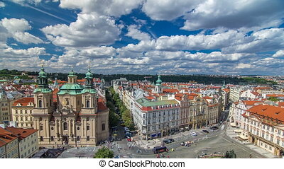 St. Nicholas Church and the Old Town Square timelapse, Prague, Czech Republic