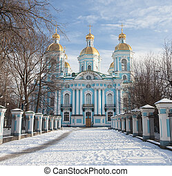 St. Nicholas Naval Cathedral in winter. Saint-Petersburg. Russia