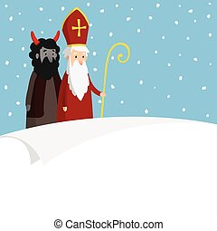 St. Nicholas with devil, falling snow and blank paper. Cute Christmas invitation, card, wish list. Flat design, vector illustration, winter background.