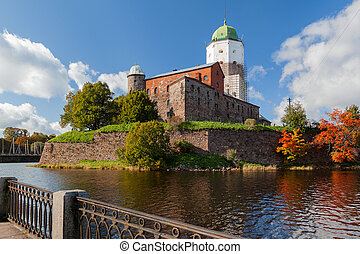 St Olov castle, medieval Swedish castle in Vyborg, Russia. Panorama view in sunny autumn day.