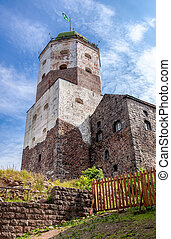 St Olov tower in the old Swedish medieval castle in Vyborg, Russia