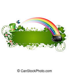 St. Patrick background with flowers and butterflies isolated...